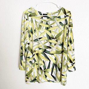 JM Collection 3/4 Sleeve Top Blouse Leaf Print XL